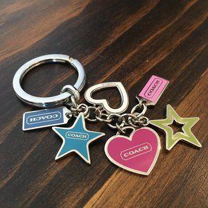 NWOT Coach Hearts Stars Lozenge Keychain Fob